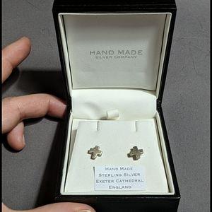 Hand Made Sterling Silver Cross Earrings